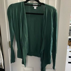 Green cardigan.